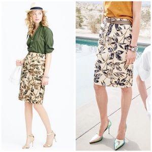 j. crew // gold foil leaf metallic pencil skirt